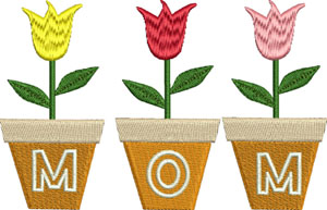 Moms Tulips-Mom, tulips, Mothers Day, machine embroidery, holiday