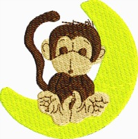 Monkey on banana moon-MACHINE embroidery monkey monkies animals zoo animals moon childrens embroidery stitchedinfaith.com