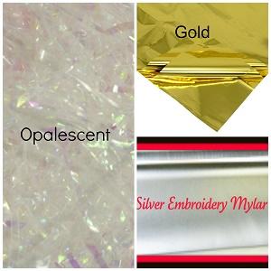 Mylar variety packs buy 3 get 1 free-Mylar embroidery mylar get 1 free mylar free embroidery sheets 1 gold myla,1  silver myla, 2 opalescent mylar mylar embroidery sheets