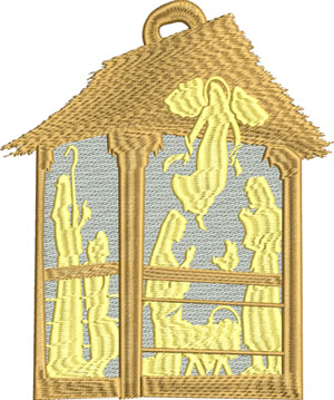 Nativity Lantern-Nativity, Lantern,Christmas, machine embroidery, Christmas embroidery
