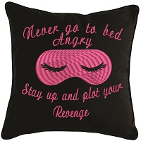 Never go to bed embroidered pillow-Pillows throw pillows embroidered pillow cute pillow sleep mask pillow gift pillows