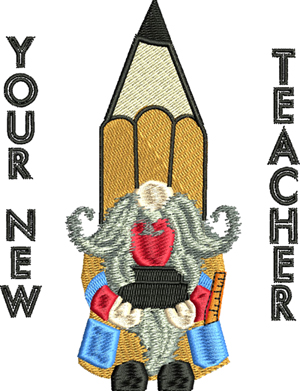 New Teacher-Gnomes, teacher, new teacher, school, machine embroidery