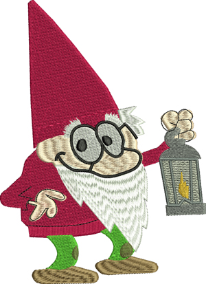 Nighttime Gnome-Gnome, Gnomes, Night time, machine embroidery