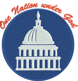 One Nation under God-USA, Nation, God, machine embroidery, United States, White House