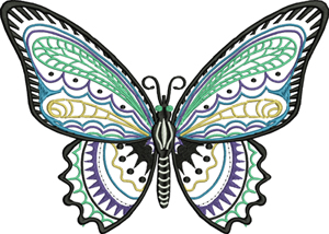 Open butterfly-Butterfly, machine embroidery, bugs