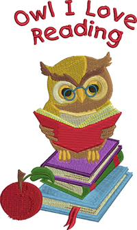 Owl I love reading-owl, reading,books, apple, school, textbooks, machine embroidery, embroidery designs