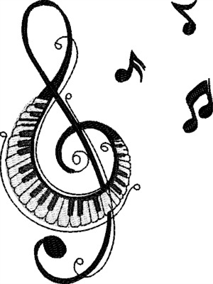 Music Piano treble Clef And Notes-machine embroidery music scale piano piano treble clef notes