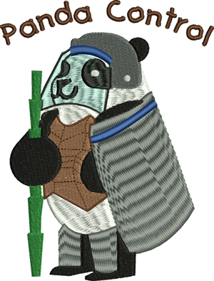 Panda control-Panda, bears, force, police,machine embroidery, embroidery, animals