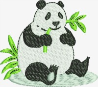 Panda bear eating-Panda bears machine embroidery Panda Panda eating