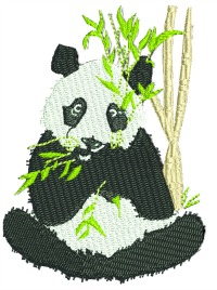 Panda bear snacking-Panda bears panda bear machine embroidery panda bear snacking panda eating.