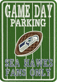 Parking sign sea hawks-Parking sign, Sea, Hawks, football, sports, machine embroidery