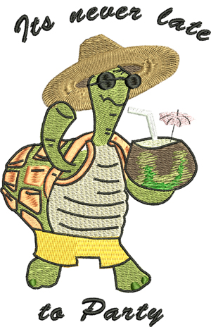 Party Turtle-Party, Turtle, Summer, Beach, machine embroidery