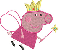 Peppa Pig Fairy-Peppa Pig, Fairy Pig, Pig, machine embroidery, childrens embroidery, Peppa