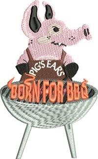 Pig BBQ-Pig, machine embroidery, BBQ, embroidery, embroidery designs