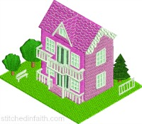 Pink Doll House-Pink doll house, machine embroidery, Doll house embroidery, house embroidery, embroidery, stitchedinfaith.com