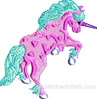 Pink Unicorn-Pink Unicorn embroidery, unicorn embroidery, machine embroidery, fantasy embroidery, embroidery designs, machine embroidery designs, stitchedinfaith.com