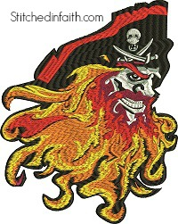 Pirate-Pirate embroidery, Pirates face, machine embroidery, Pirate machine embroidery, stitchedinfaith.com, fantasy embroidery, embroidery designs