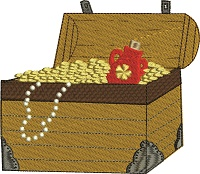 Pirate Treasure Chest-Pirate Chest gold chest machine embroidery chesttreasure chest