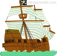 Pirate Ship and Sails-Pirate ship embroidery, Pirate embroidery, machine embroidery, pirates, stitchedinfaith.com,
