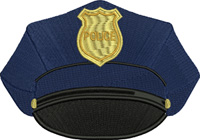 Police Hat-Police hat, Police embroidery, machine embroidery Police hat embroider, occupation embroidery