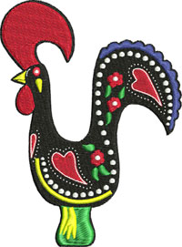 Portugal rooster-Rooster, Portugal,animal, farm,Portugal rooster, machine embroidery