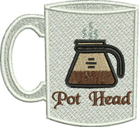 Pot Head Coffee-Pot, Coffee, kitchen, machine embroidery, Coffee pot, mug, breakfast, drinking,