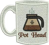 Pot Head Coffee-Pot, Coffee, kitchen, machine embroidery, Coffee pot, mug, breakfast, drinking,