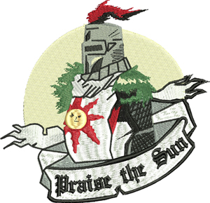 Praise the sun-Praise the sun, machine embroidery, dark, souls, embroidery designs