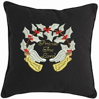 Praise the Lord Christmas Pillow-Christian pillows Christmas pillows embroidered pillows Praise the Lord Pillow Christmas gifts gifts holiday pillows holiday stitchedinfaith.com