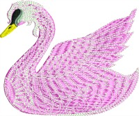 Pretty Pink Swan-Pink swan swan swans animals stitchedinfaith.com machine embroidery embroidery