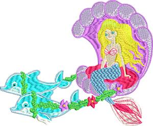 Princess mermaid-Princess, machine embroidery, mermaid, mermaids, embroidery, dolphins, girls embroidery,