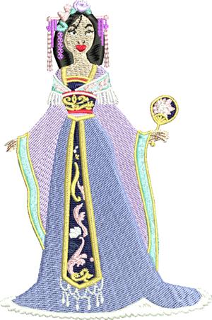 Princess Mulan-Princess, Mulan, machine embroidery, embroidery