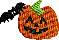 Pumpkin and bat friends-Pumpkin machine embroidery Halloween embroidery pumpkins bats fall embroidery childrens embroidery pumpkin and bat stitchedinfaith.com