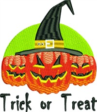 Pumpkins Treat or Treat-Machine embroidery Halloween pumpkins trick or treat Halloween embroidery embroidery witch hat childrens halloween designs