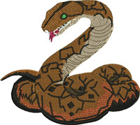 Rattle snake-Snake, Rattle snake, machine embroidery, reptiles, reptile embroidery