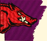 Razorback Arkansas-Razorback, machine embroidery, razorback embroidery, arkansas embroidery, hog embroidery, animal embroidery, stitchedinfaith.com