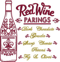 Red Wine Parings-Wine,machine embroidery, drinks,kitchen,alcohol,wine saying,