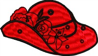 Red rose hat-RED HAT RED ROSE HAT HAT MACHINE EMBROIDERY STITCHEDINFAITH.COM