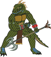 Reptile Great Warrior-Reptile, dungeon and dragons, machine embroidery, Great Warrior, embroidery, games