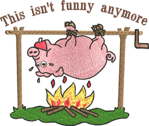 Funny Roast-Pig, cookout, cute, roast, party, funny, machine embroidery