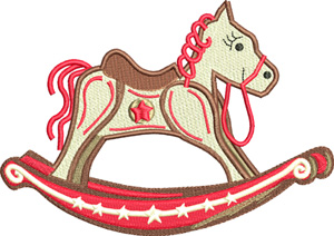 Rocking Horse-Rocking, Horse, toy, Christmas, machine embroidery, Horsey