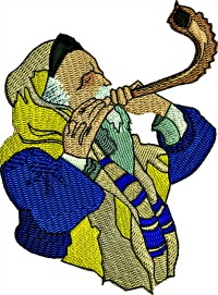 Rosh Hashanah Shofar-Rosh Hashanah shofar shofar blew Jewish holidays machine embroidery Judaism stitchedinfaith.com