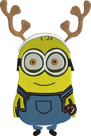 Rudolph Minion-Rudolph, Christmas, machine embroidery, Minion, Holiday