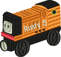 Rusty-Thomas the train, Rusty train, machine embroidery, kids embroidery