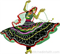 Salsa Lady-Salsa dancer, machine embroidery, Salsa embroidery, Dance embroidery, Salsa Lady dancer machine embroidery, stitchedinfaith.com, dancing embroidery