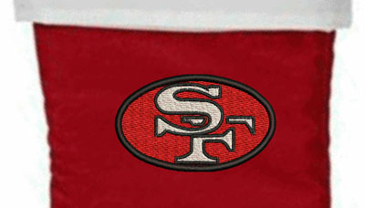 Personalized San Francisco logo Christmas stocking-Christmas stockings, San Francisco, SF, football, football stockings, personalized stockings