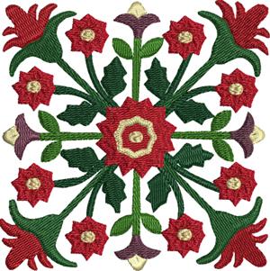 Scarlet bloom-Quilt, quilt square, machine embroidery, embroidery designs, quilt designs. embroidery, quilts