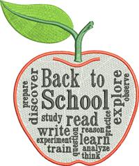 School apple-School, apple, back to school, teacher,learning,machine embroidery