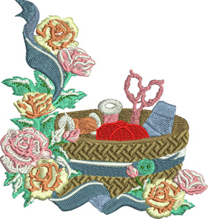 Sewing basket-Sewing, machine embroidery, basket, crafts, embroidery, pin cushion, scissors