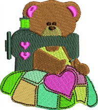 Sewing Bear Quilt-machine embroidery bear embroidery quilt design bear sewing